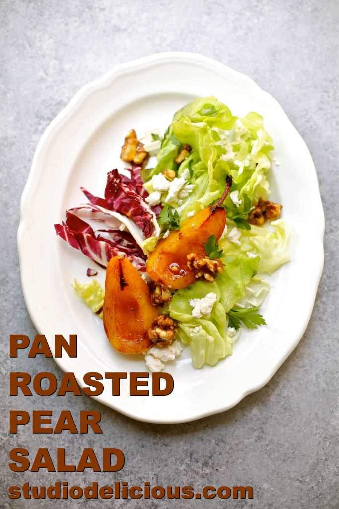 Pan Roasted Pear Salad with text