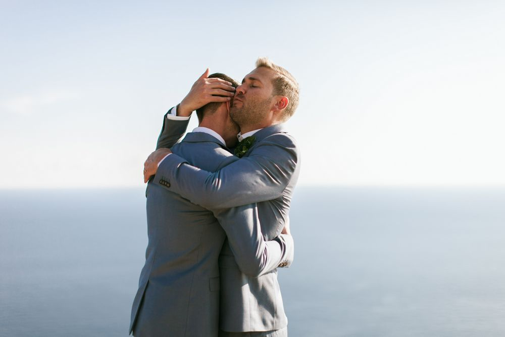 Emotional moment during Eon & Warrick's Gay destination wedding in Dubrovnik, Croatia