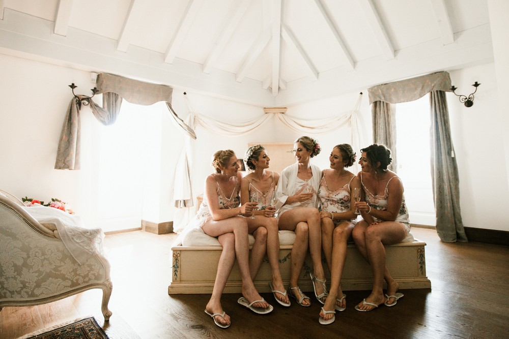 martinis marchi Patricia's bridesmaids were simply stunning in their Stone Blue Multiway dresses by mimetik via Etsy.