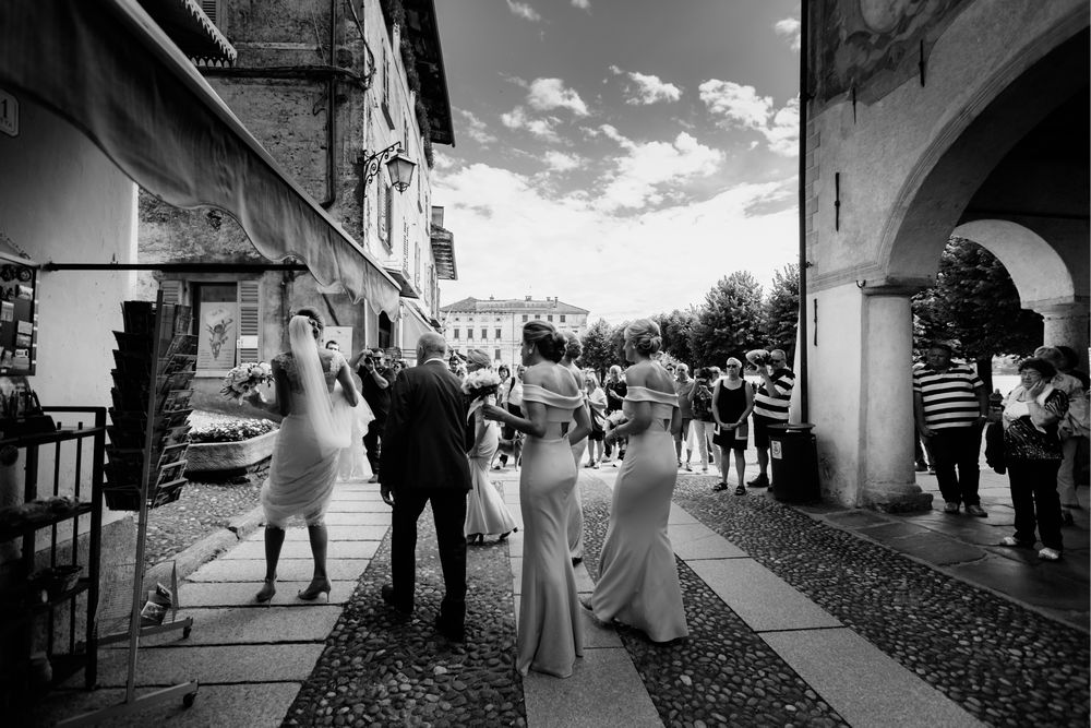 Bride walking towards the Church in Lake Orta, Italy. Photo by © wedding photographer Lake Como