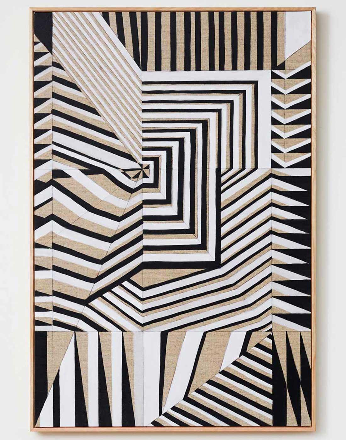 Black & White on Linen framed in Raw Oak