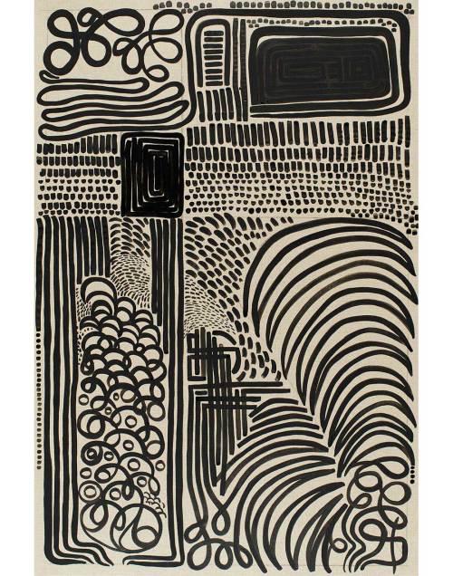 Black Line on Linen Print