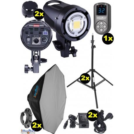 kit eclairage studio led 2x ledb 500 lampe led 50w pour studio numerique 2x trepied 195cm 2x boite a lumiere o80cm wr l99