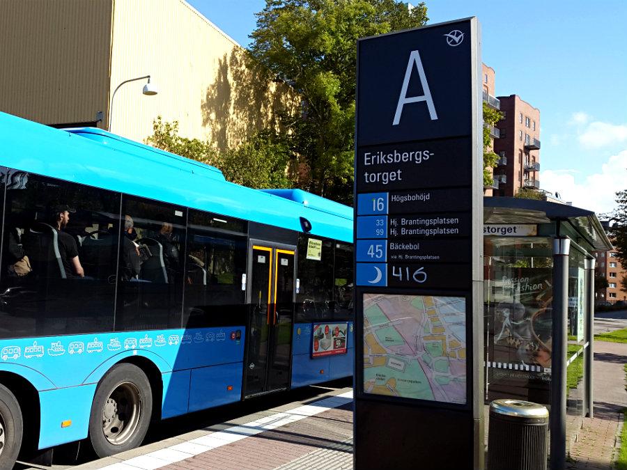 Närmsta busshållplats är Eriksbergstorget...