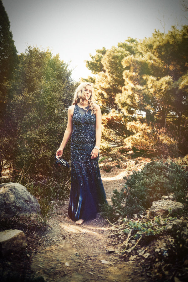 Senior picture of girl in prom dress walking down path at Olbrich Gardens