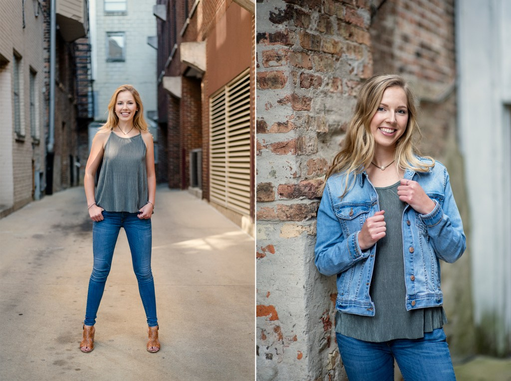 Senior portrait adding a jacket to create multiple outfit looks.