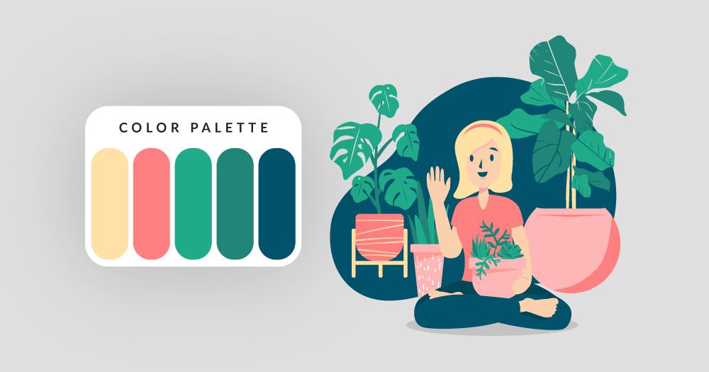 color palette illustration of girl with plants