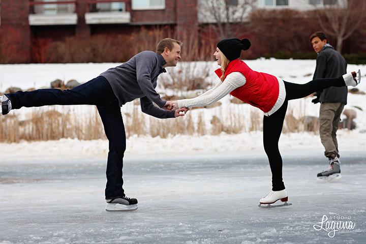 ice skating engagement session in Edina