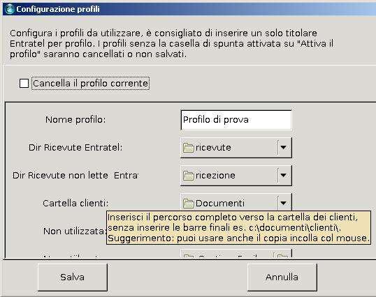 Finestra di configurazione dei profili