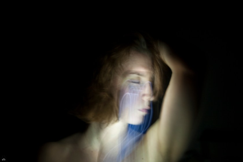 Painting with light photographic self-portrait meditation by Studio Metsä Photography