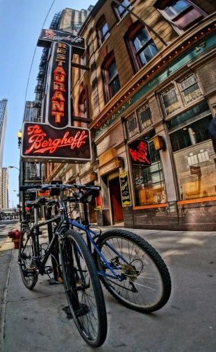 Bikes at The Berghoff - A Sunny Day on Adams - Version 2