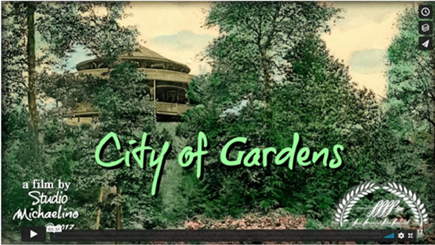 """""""City of Gardens"""" is Michael Tomb's award-winning short film. It is structured as a """"triptych"""" of video essays explaining how """"The Garden is with me"""". First within his life and art, second as a legacy within his city, and third by way of sampling recent learnings and influences on the social relevance of gardening."""