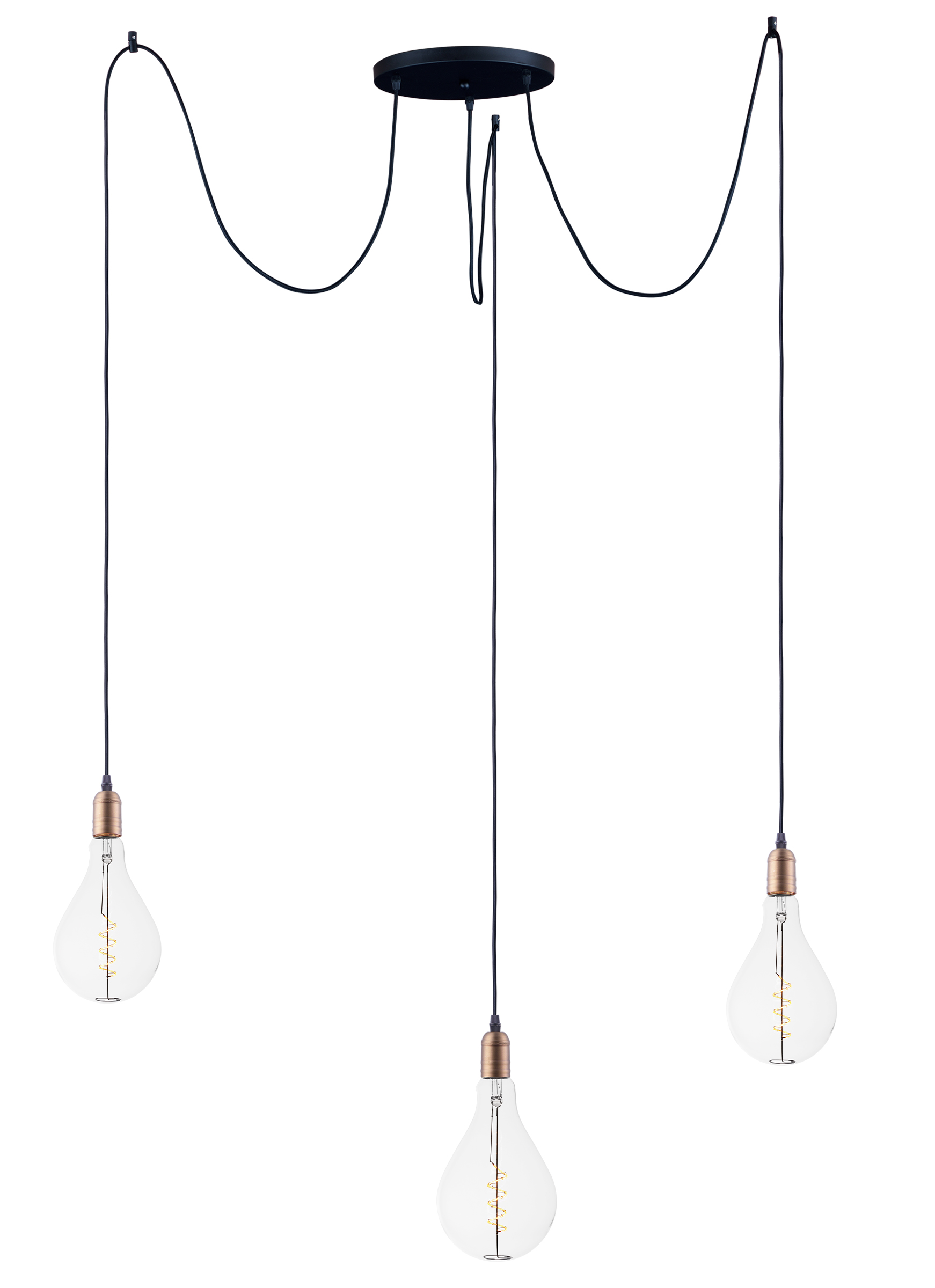 Early Electric 3 Light Pendant With A50 Led Bulbs