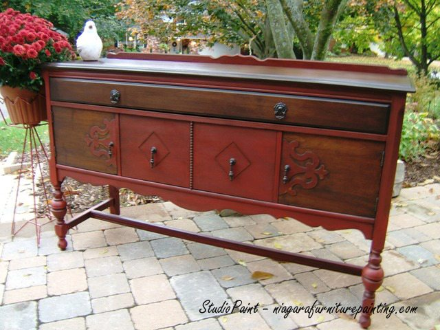 red painted buffet