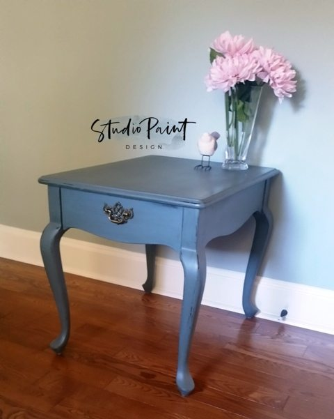 Blue Grey End Table Quot Ronda Quot Studio Paint Design