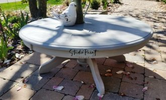 "Whitewashed Round Table for ""Amy"""