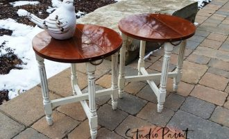 "Painted Folding End Tables ""Beamers"""