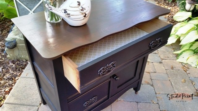 antique painted and refinished oak washstand