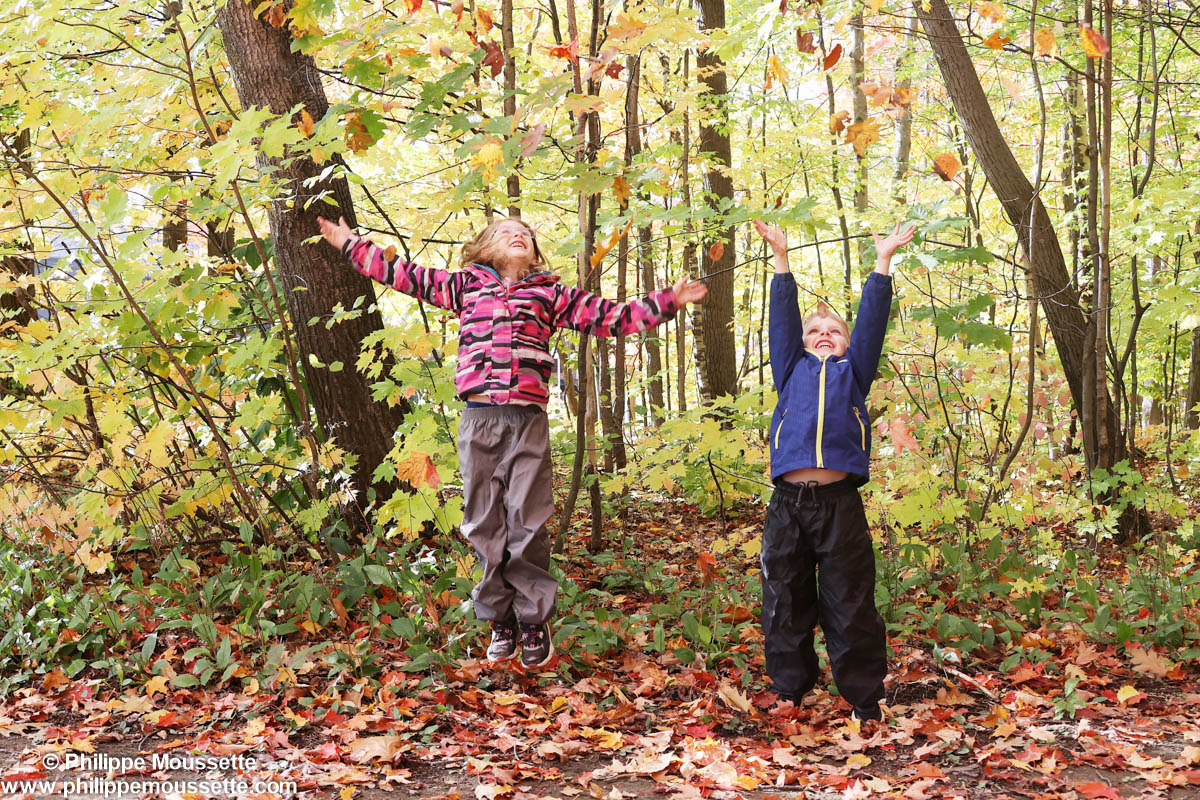 Deux enfants qui lancent des feuilles d'automne