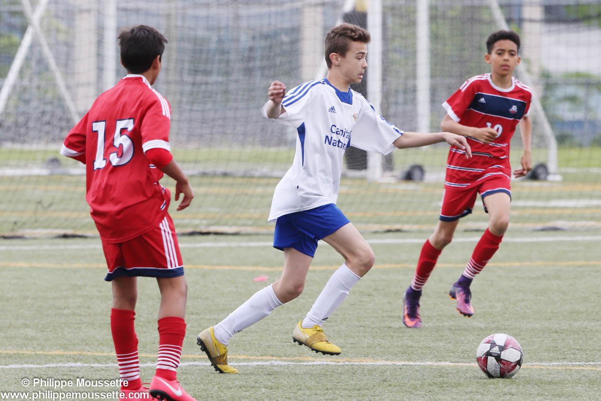 Joueurs de soccer en plein match