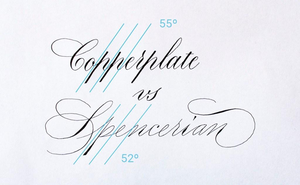 Verschil Copperplate Spencerian kalligrafie  - helling