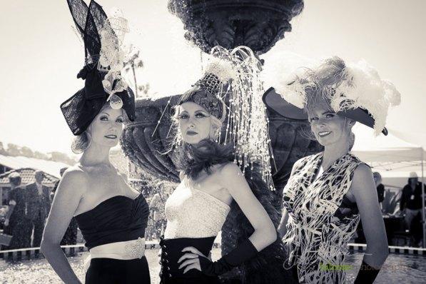 Kelly, Tatiana and Afton hang out at the Hollywood Fashion Contest at 2015 Bing Crosby Opening Day at Del Mar.