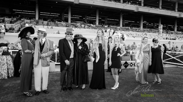 The 1st and 2nd place finalists show their stuff to the crowd in the Winners Circle at the 2015 Bing Crosby Opening Day at Del Mar