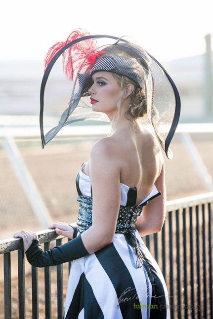 Cierra Flower in a race track dream styled by Deena and Studio Savvy at 2015 Bing Crosby Opening Day at Del Mar