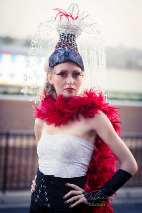 Tatiana Slepova in her original waterfall head piece designed and styled by Deena and Studio Savvy at 2015 Bing Crosby Opening Day at Del Mar