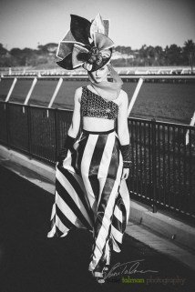 Nikki Smith being bold in bold stripes and a gorgeous hatinator is styled by Deena and Studio Savvy at 2015 Bing Crosby Opening Day at Del Mar