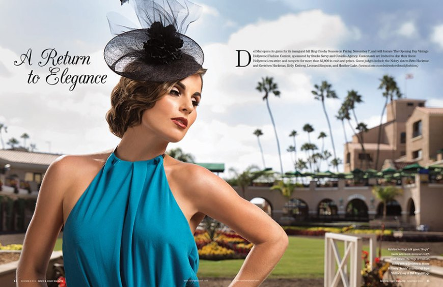 Del Mar opens it's gates for its inaugural fall Bing Crosby Season on Friday, Nov 7, and will feature The Opening Day Vintage Hollywood Fashion Contest, sponsored by Studio Savvy and Cuviello Agency. Contestants are invited to don their finest Hollywood-era attire and compete for more than $3,000 in cash and prizes. Guest Judges include the Nubry sisters, Britt Hackmann and Gretchen Hackmann, Kelly Emberg, Leonard Simpson, and Heather Lake.