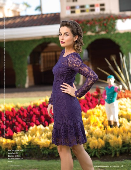 Hale Bob purple lace dress from TRE Boutique of Flower Hill Promenade & The Forum. Hair by Deena Von ones, Make-up by James Overstreet for Studio Savvy.