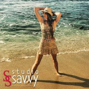 Christianna Knutsen shows off this cute Mediterranean print beach dress while at our photo shoot in La Jolla.