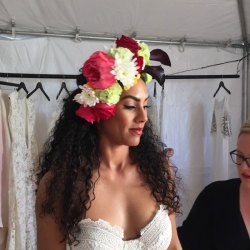 Hair by Studio Savvy Salon Services flower hairpiece by Studio B at Wedding Party Expo San Diego