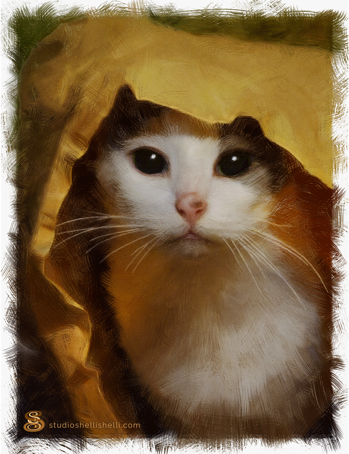 "lily, ""cat's in the bag!"" hand painted digital portrait by shelli"
