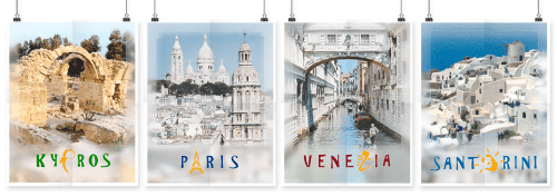 set of four travel posters designed by shelli