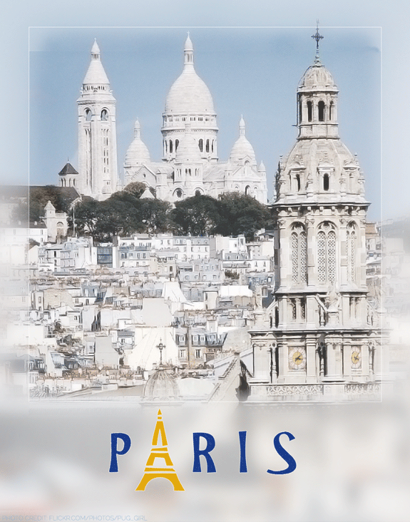 paris travel poster designed by shelli; photography by flickr user pug_girl used in accordance with creative commons licensing