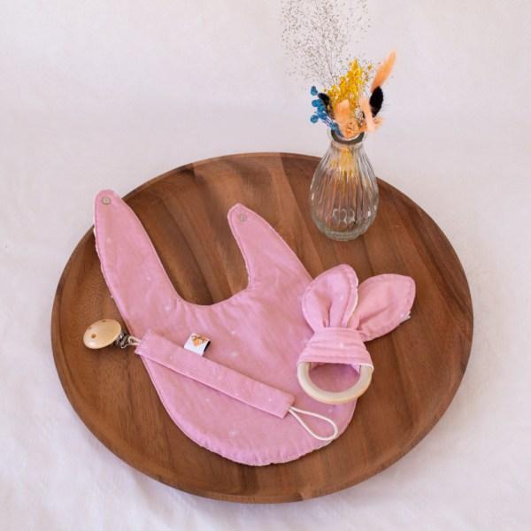 geboortepakket 1 roze dandelions bavet slab speenketting tuttenkoord bijtring