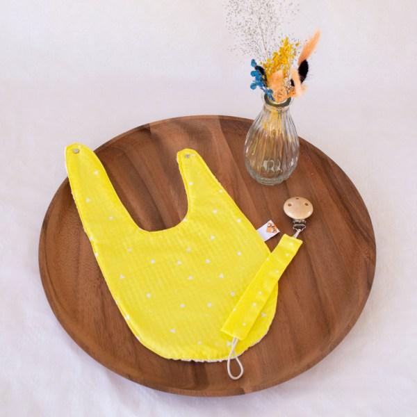 geboortepakket 2 tuttenkoord speenketting bavet slab geel