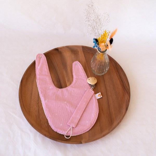 geboortepakket 2 roze dandelions bavet en tuttenkoord