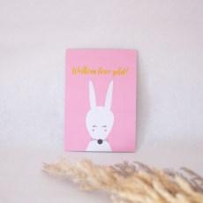 wenskaart welkom lieve schat konijn roze