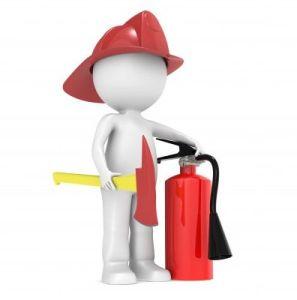 Omino antincendio estintore ascia elmo