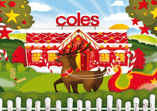 Campagne de publicité fêtes de Noël dans les magasins australiens Coles