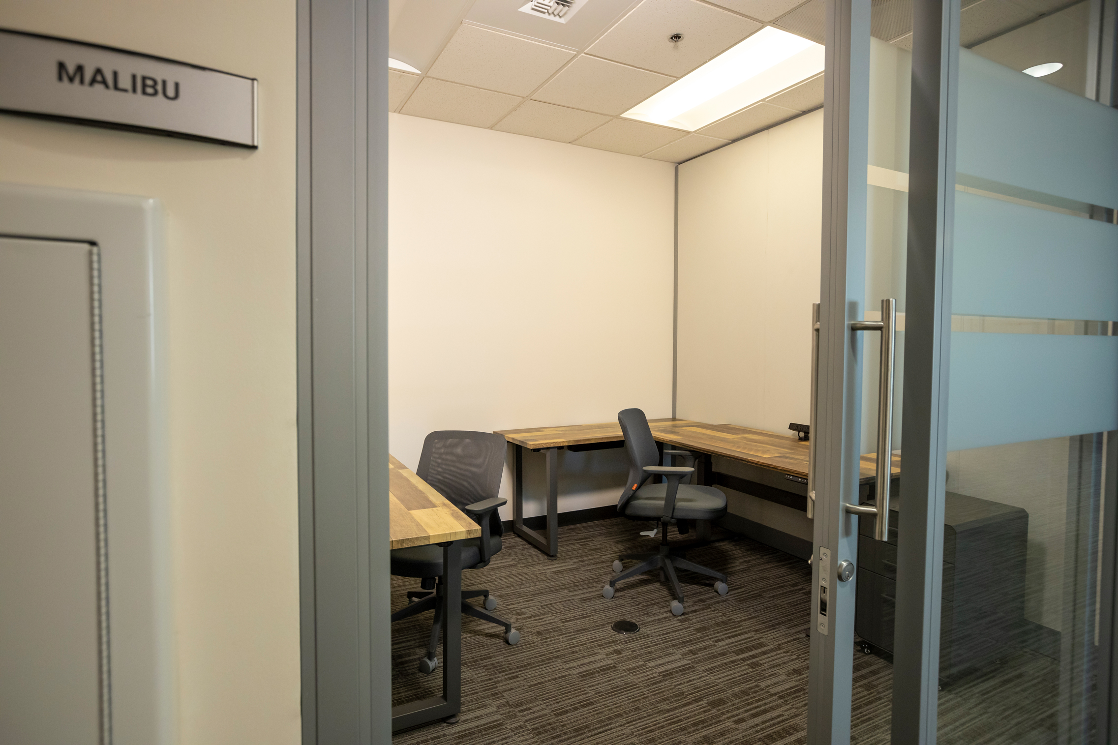 The Malibu private office space at The Studio Coworking Creekside Roseville.