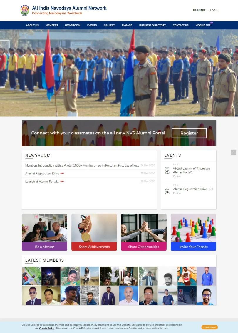 snap shot of the All india Navodaya alumni Website