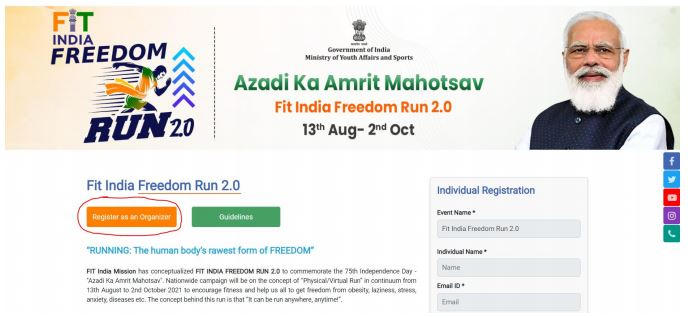Step to Register as an Organizer