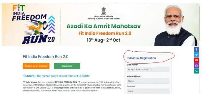 Step 1 Fit India freedom Run 2.0