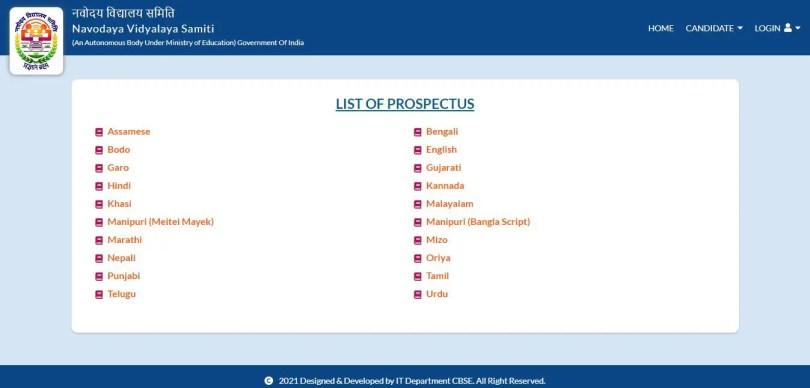 Official Notification prospectus JNV Navodaya 2022-23