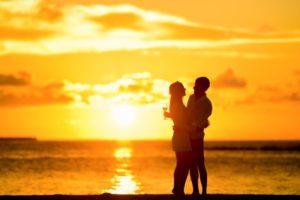 couple in love, romantic sunset