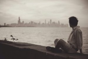 Young adult looking at skyline